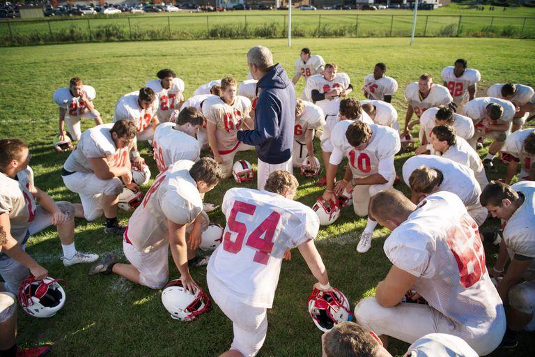 football team pep talk before game
