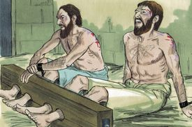 Silas and Paul singing praise in prison