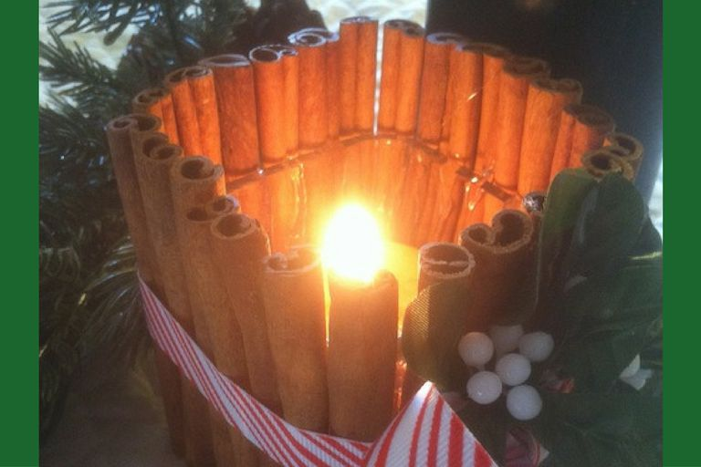 Make a cinnamon stick candleholder to celebrate Yule.