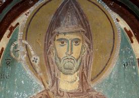 Depiction of Saint Benedict of Nursia. 13th century fresco, Monastero San Benedetto, Subiaco, Italy