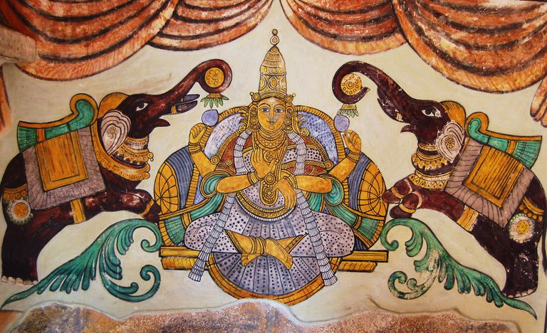 A painting of Lakshmi on the inner walls of the Tanjore Big temple.