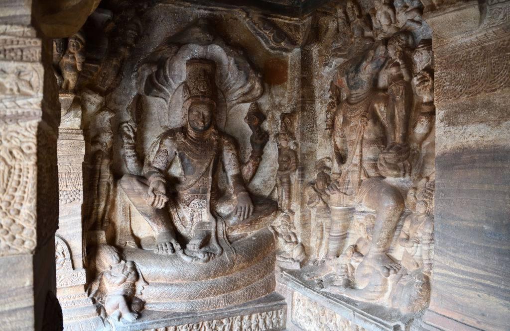 The Badami Cave Temples with sculture depicting Vishnu resting on Shesha (snake)