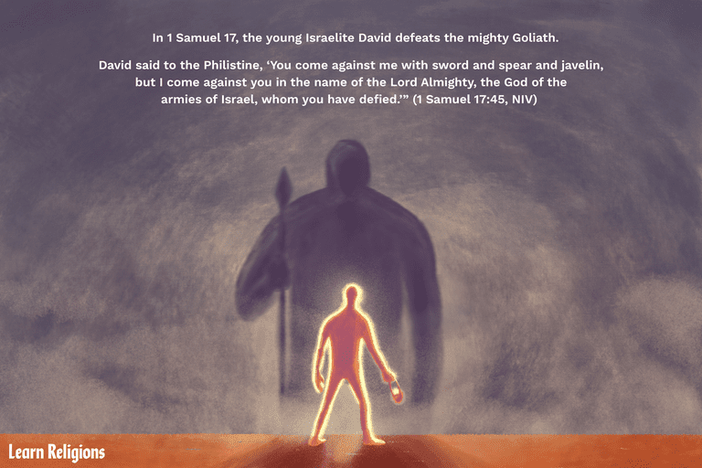 """In 1 Samuel 17, the young Israelite David defeats the mighty Goliath. Please ALSO include the following lines from scripture: """"David said to the Philistine, 'You come against me with sword and spear and javelin, but I come against you in the name of the Lord Almighty, the God of the armies of Israel, whom you have defied.'"""" (1 Samuel 17:45, NIV)"""