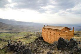 Noah's Ark docked on rocks overlooking a landscape