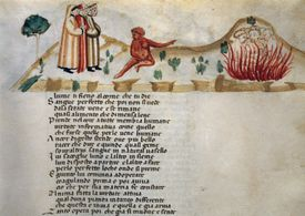 Illuminated page from a manuscript of Dante's Purgatory (The Divine Comedy)
