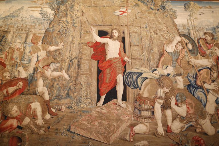 Tapestry depicting the resurrection. Gallery of Tapestries. Vatican Museum.