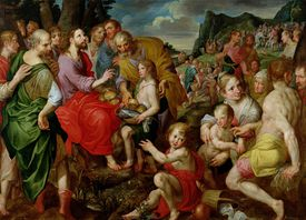 Jesus Christ feeding the 5,000 bread loaves fish Bible miracle