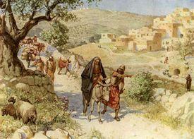 Painting of King David fleeing from Jerusalem.