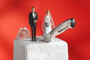 Wedding cake with a knife