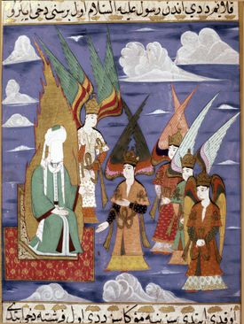 Painting of Mohammad with angels in Istanbul, Turkey