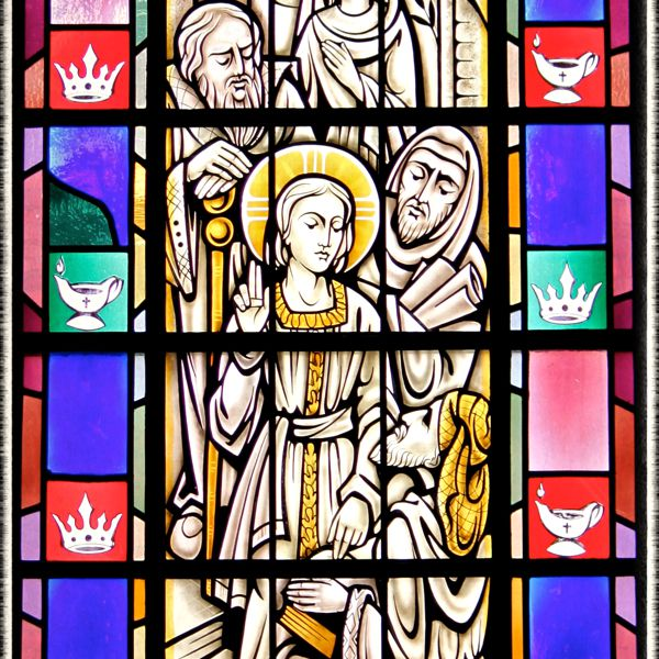 Stained-glass of the Finding in the Temple, St. Mary's Church, Painesville, OH. (© Scott P. Richert)