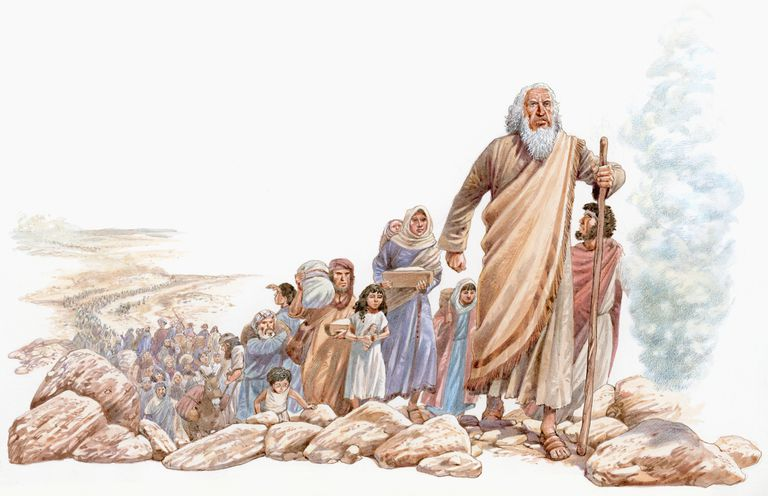 Moses leads the Hebrews people to Canaan.