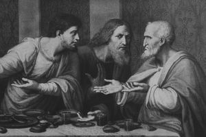 Saint Matthew, Jude the Apostle, and Simon the Zealot attend Christ's last meal in Jerusalem before his crucifixion