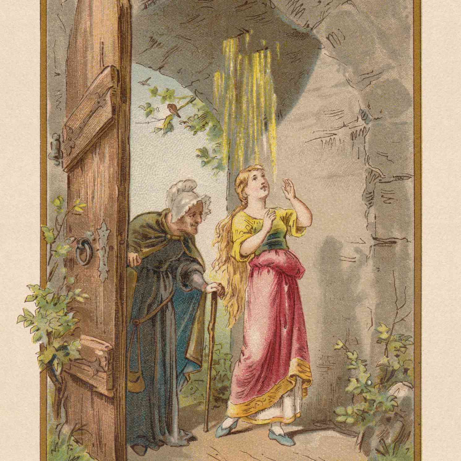 Mother Hulda (Frau Holle), by Brothers Grimm, chromolithograph 1898