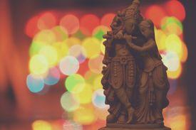 Close-Up Of Krishna And Radha Sculpture