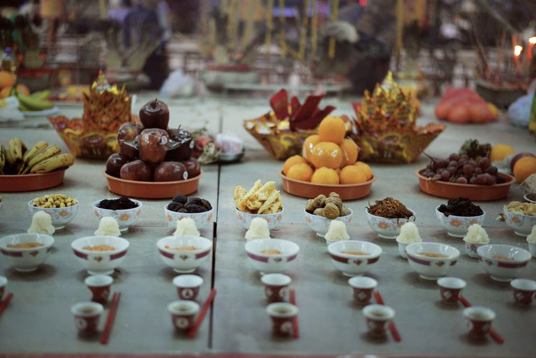 Food Offering at the Chinese Ghosts Festival on a table