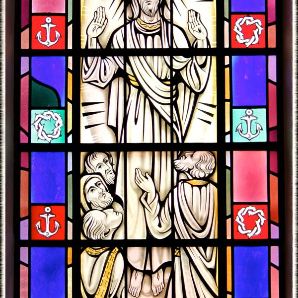 Stained-glass window of the Ascension in Saint Mary's Church, Painesville, OH. (© Scott P. Richert)