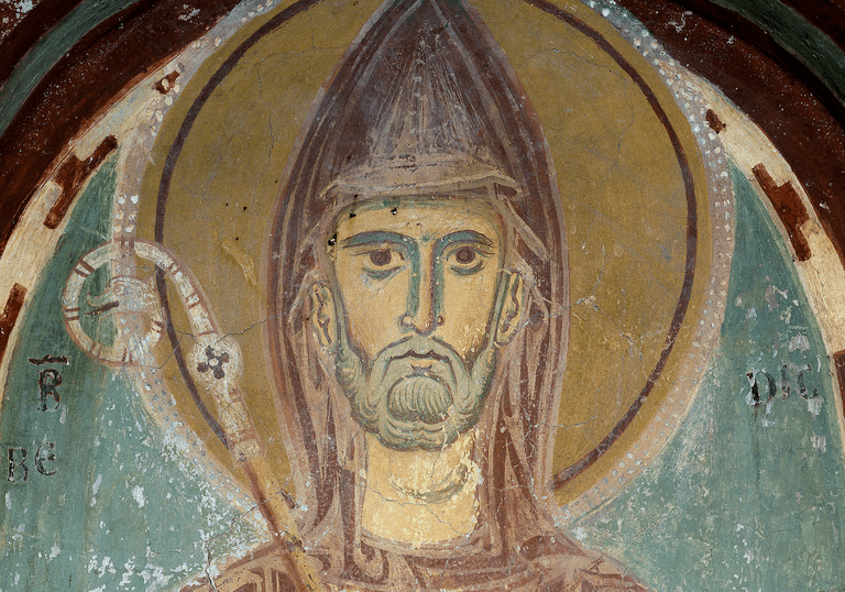 Depiction of Saint Benedict of Nursia. 13th century fresco, Monastero San Benedetto, Subiaco, Italy