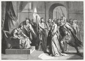 Christ before Pilate (Mark 15), wood engraving, published in 1886