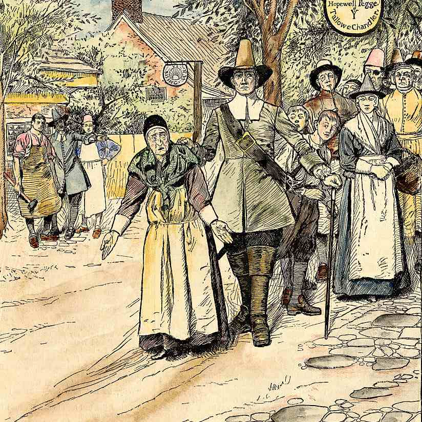 Illustration of Elderly Woman Being Led Away During the Salem Witch Trials