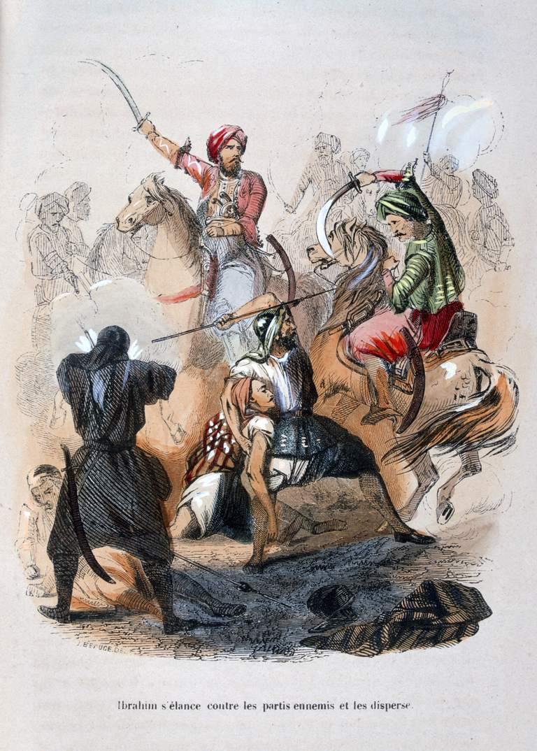 Ibrahim Pasha fighting the Wahabis, Saudi Arabia, 1811-1818 (1847). Artist: Jean Adolphe Beauce