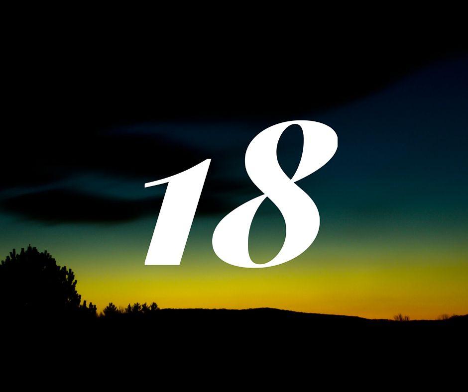 the number 18 on a dark landscape