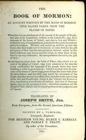1841 Book of Mormon Edition