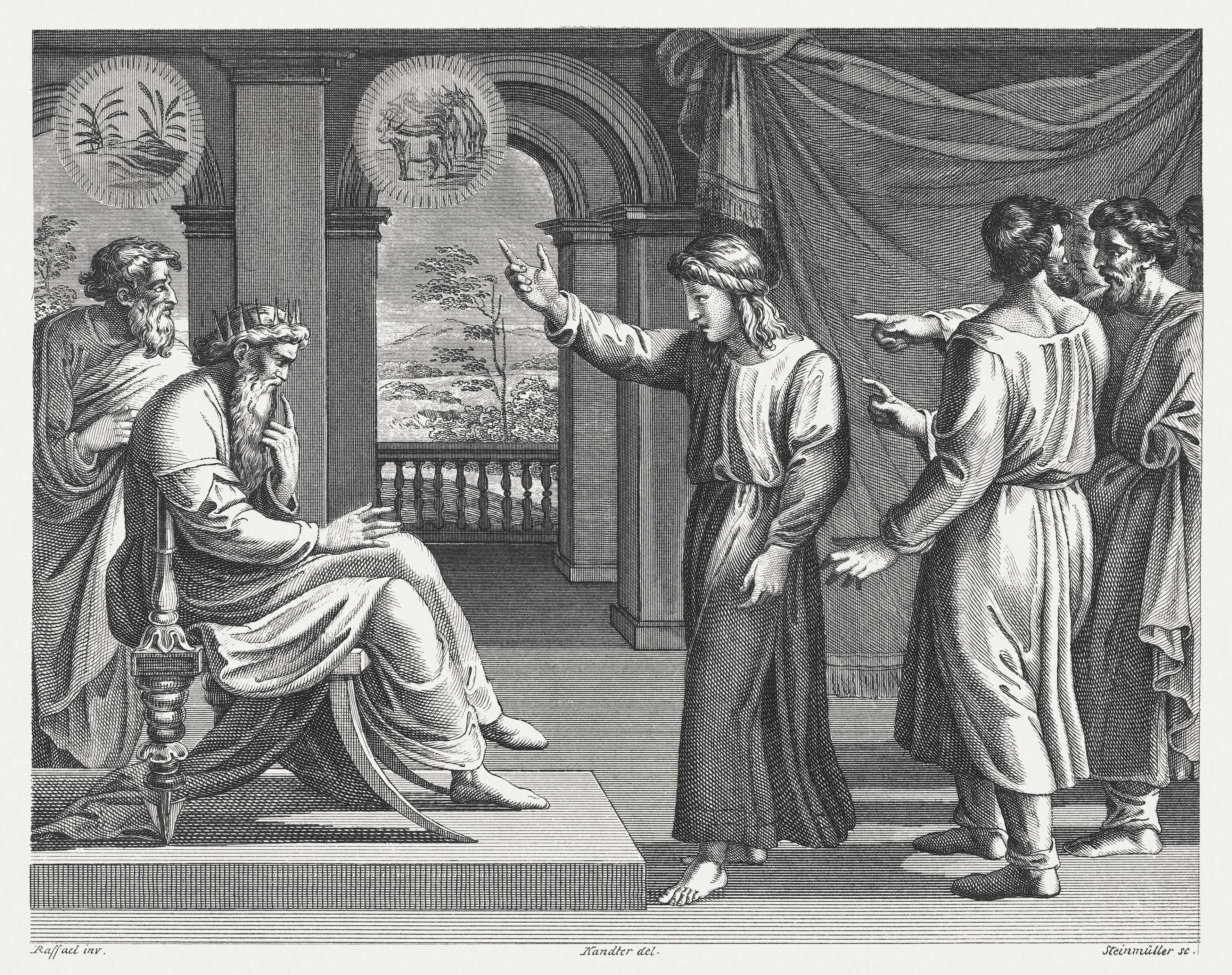 Joseph interprets Pharaoh's dreams (Genesis 41), steel engraving, published 1841