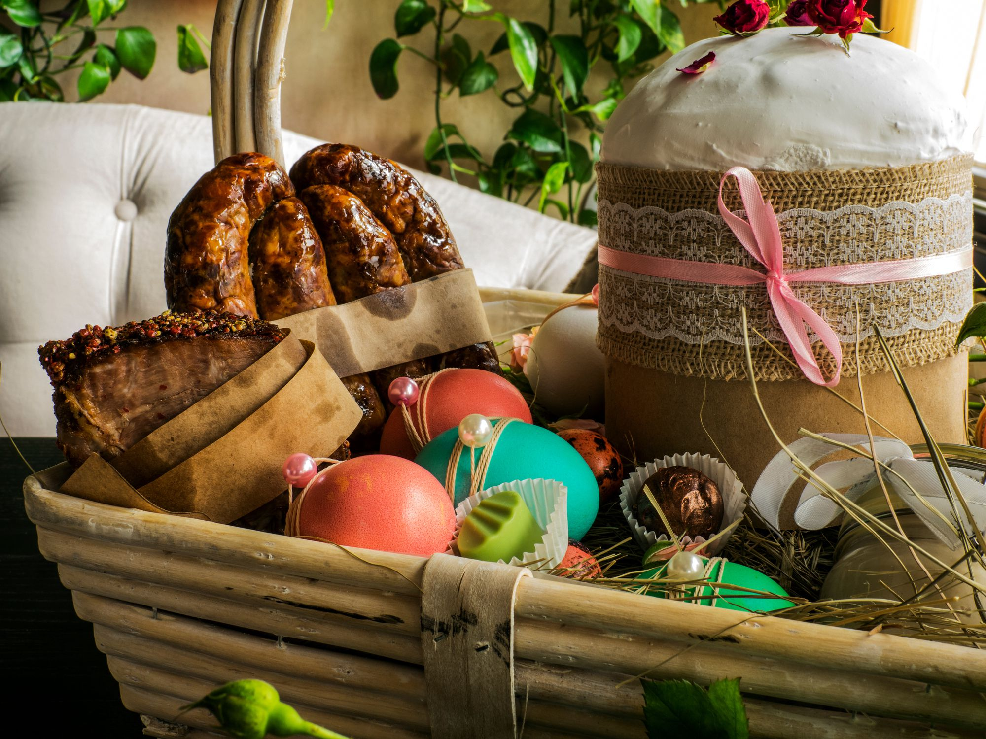 decorative baskets dried flowers small baskets country basket.htm traditional slovak ukrainian russian easter basket food  slovak ukrainian russian easter basket