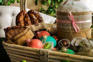 Food in an Easter basket