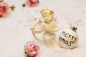 cherub, roses, Christmas ornament