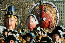 Pilgrims and Turkey Float in Macy's Thanksgiving Day Parade