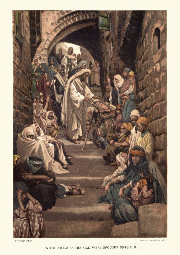 Vintage engraving of Jesus Christ healing the sick. In villages the sick were brought unto him. By James Tissot