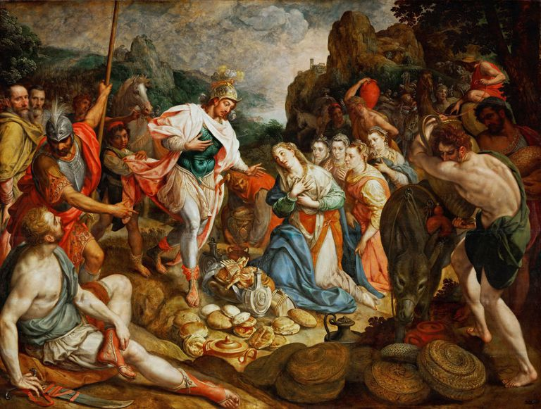 Painting depicting David and Abigail
