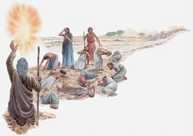 Illustration of Moses talking to God after the Israelites rejected the Promised Land