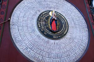 The 15th-century astronomical clock and liturgical calendar of saints around the Madonna and Child statue in St. Mary's Church, Gdansk, Poland