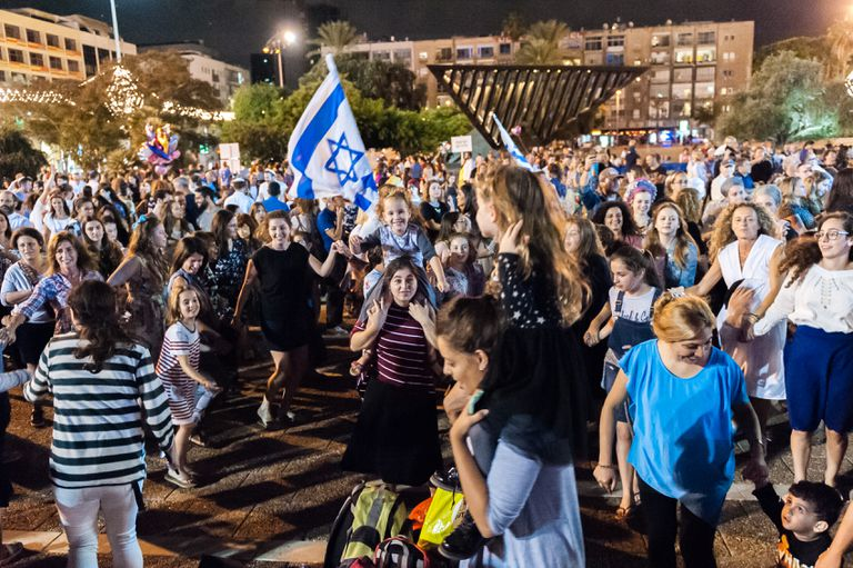 Simchat Torah celebration in Tel Aviv-Yafo, Israel