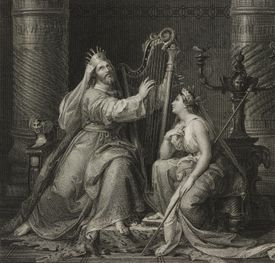 David and Michal, engraving by Calzi from painting by Francesco Podesti, from Album: Exhibition of Fine Arts in Milan, 1844