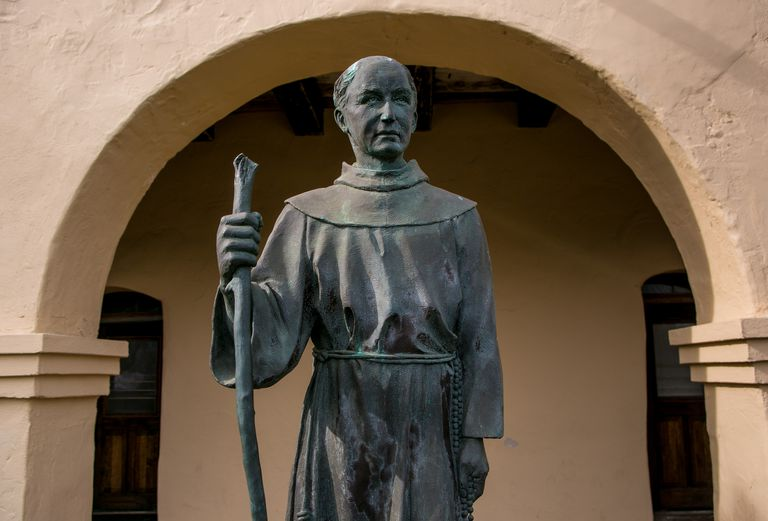 Sculpture of Father Junipero Serra at Mission Santa Ines