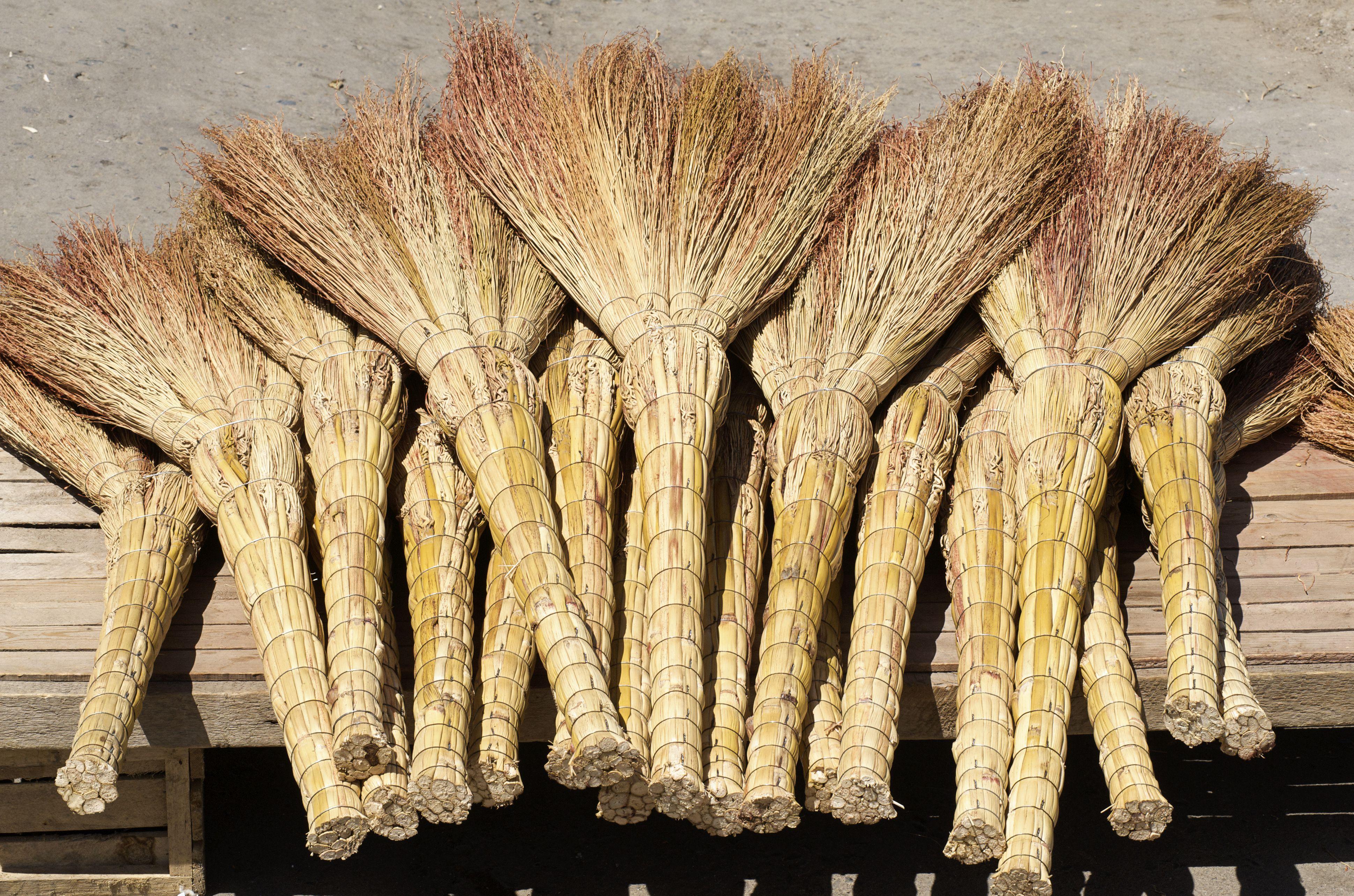 Handmade brooms at market, Samarkand, Uzbekistan