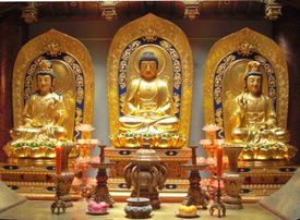 Amitabha Buddha with his attendants Avalokitesvara Bodhisattva, and Mahasthamaprapta Bodhisattva.