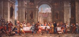 Wedding at Cana, by Bortolo Litterini, 1721, 18th Century, oil on canvas