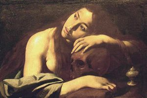 Painting of Magdalene leaning over a skull byMaestro della Maddalena di Capodimonte