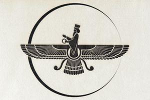 Symbol of Zoroastrianism, Faravahar, printed on a piece of fabric.