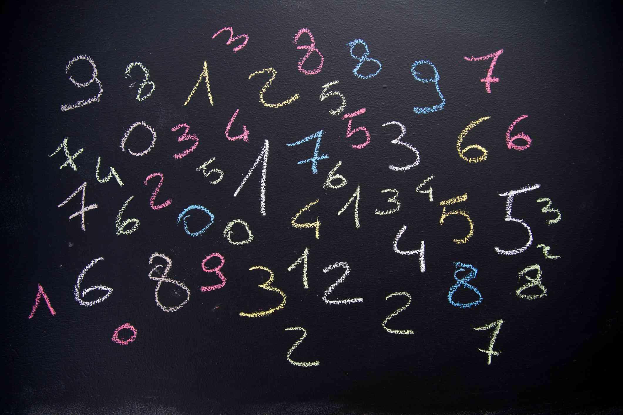 Numbers on a blackboard