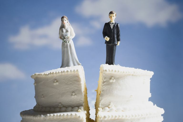 Wedding cake with figurine cake toppers visual metaphor for divorce