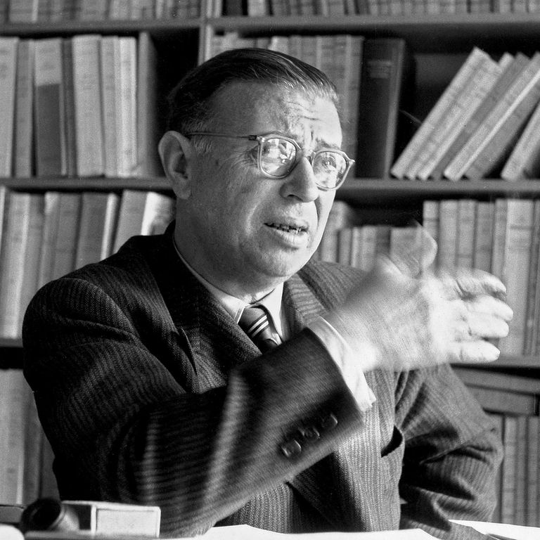 Sartre in his Library