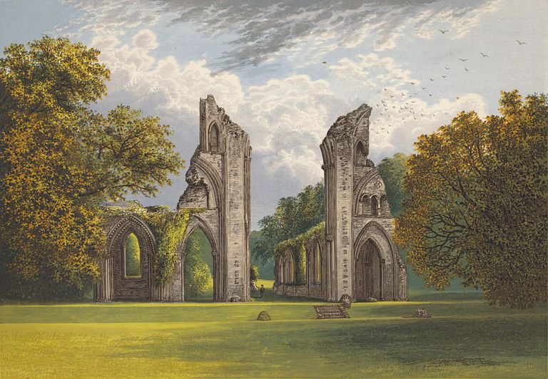 Historic drawing of the ruins of Glastonbury Abbey