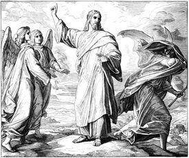 wood print of Satan Tempting Jesus