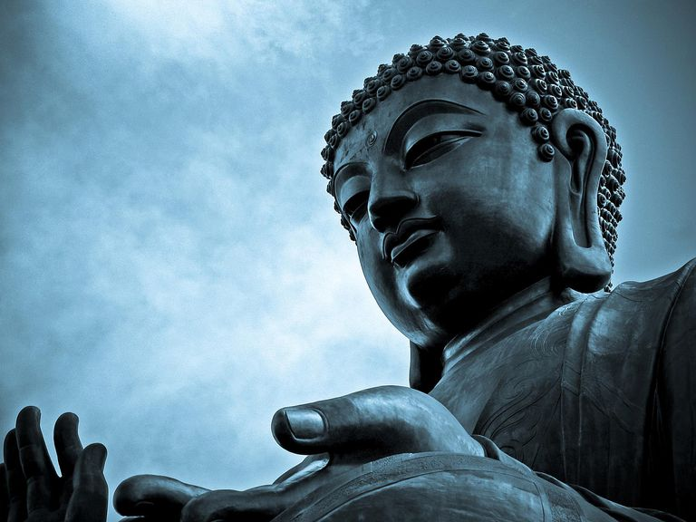 Close-up of giant Buddha in Ngong Ping village, Hong Kong.